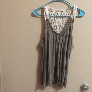 Lace back olive green tank top